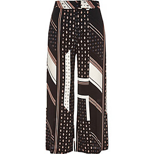 Jupe-culotte imprimé mosaïque et rayures noire à ceinture