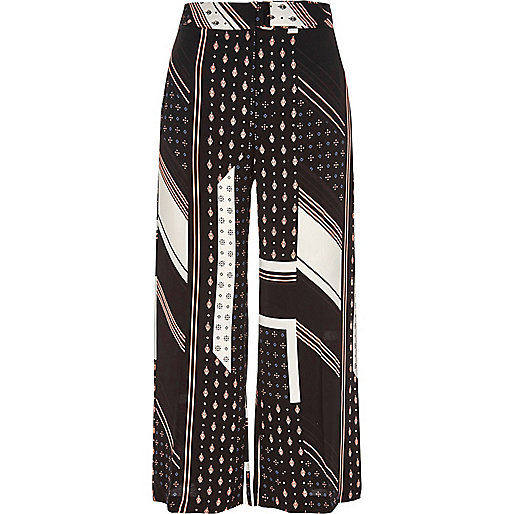 Black tile and stripe print belted culottes