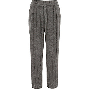 Grey herringbone check tapered trousers