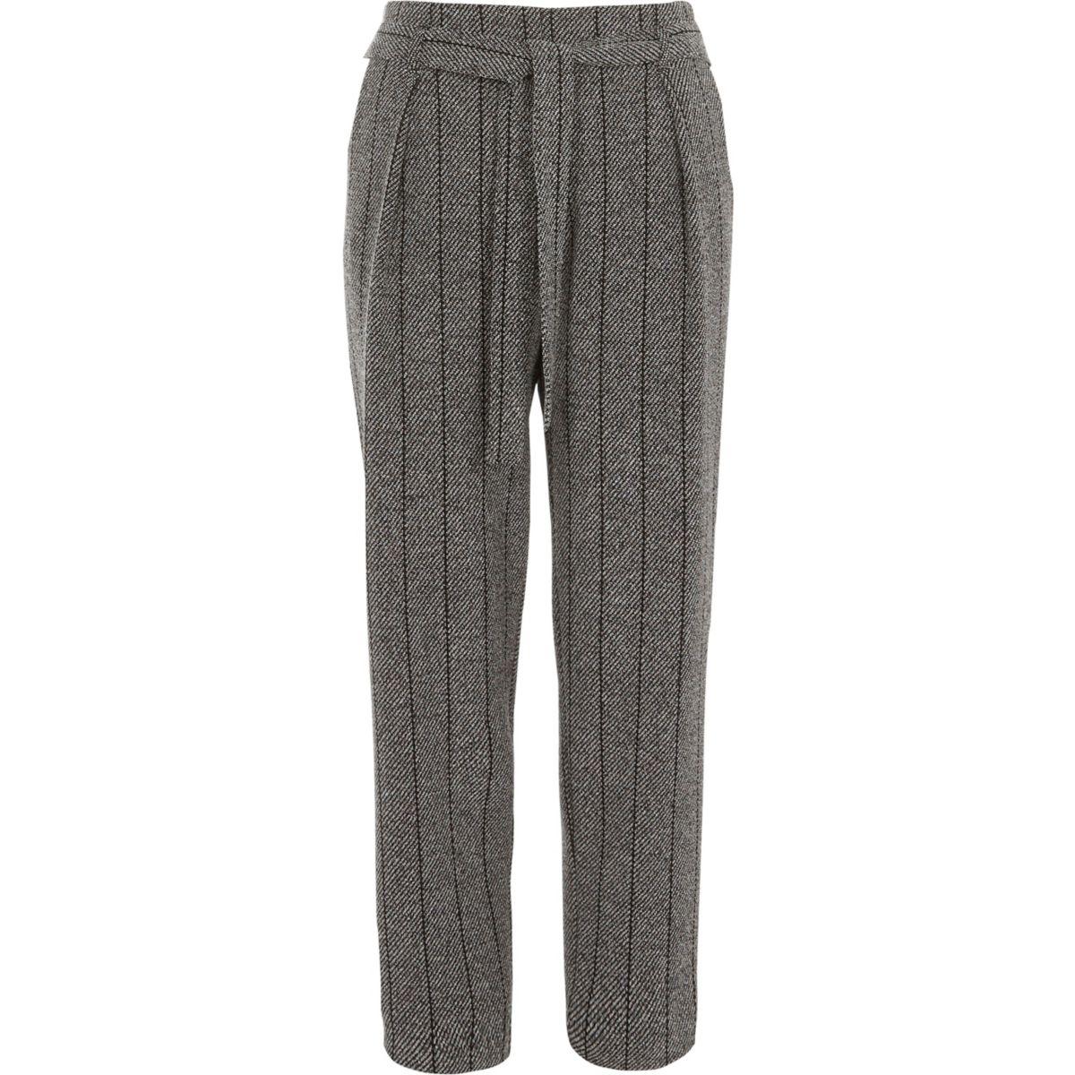 Grey herringbone check tapered trousers