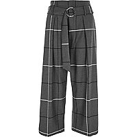 Grey check D-ring belted culottes