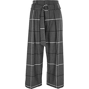 Jupe-culotte à carreaux avec ceinture à anneau en D
