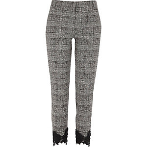 Black check lace hem cigarette pants