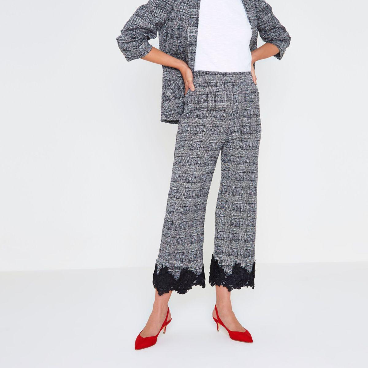 Black check floral lace hem culottes