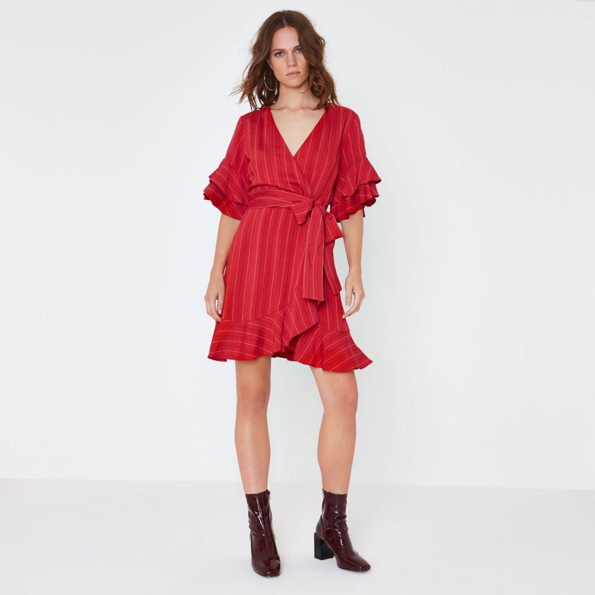 Red stripe wrap frill tea dress