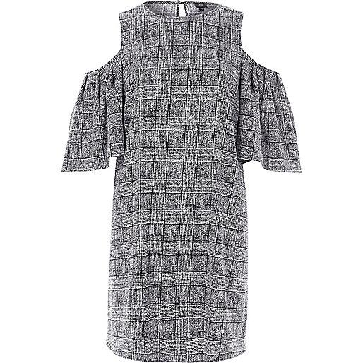Black check cold shoulder swing dress