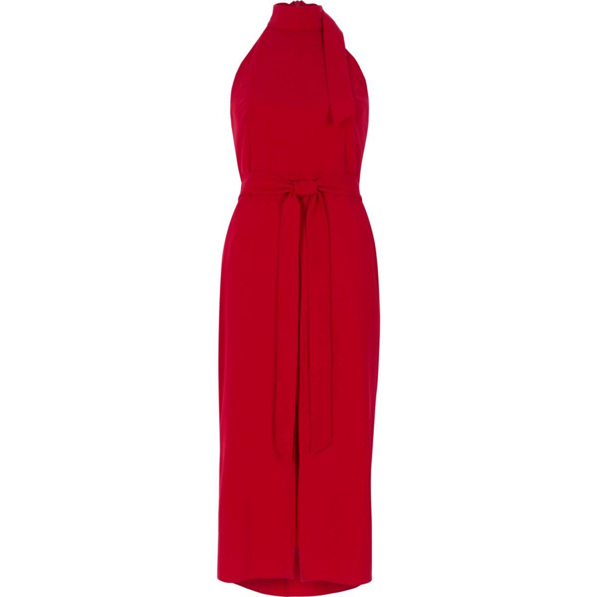 Red high neck tie waist midi dress
