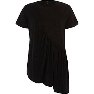 Black ruched asymmetric T-shirt
