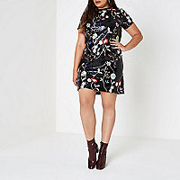 Plus black sequin floral T-shirt dress