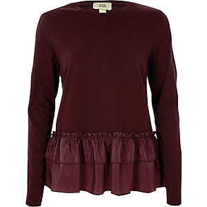 Dark red woven frill hem long sleeved T-shirt
