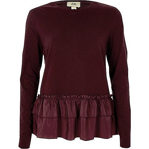 Dark red woven frill hem long sleeved T-shirt