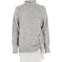 Grijze hoogsluitende gelaagde pullover met strik voor