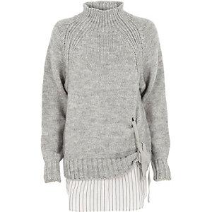 Hochgeschlossener Pullover zum Binden