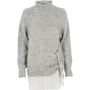 Grey tie front layer high neck sweater