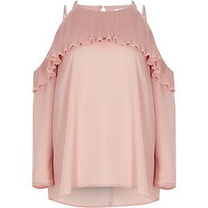 Lichtroze schouderloze blouse met plooien en ruches