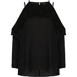 Blouse noire à épaules dénudées avec volants plissés