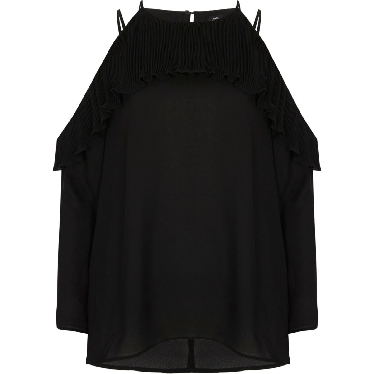 Black cold shoulder pleated frill blouse
