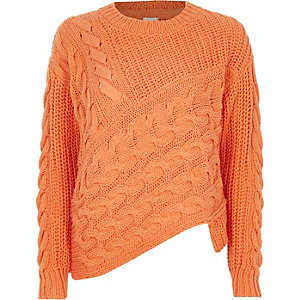 Orange cable knit asymmetric hem jumper