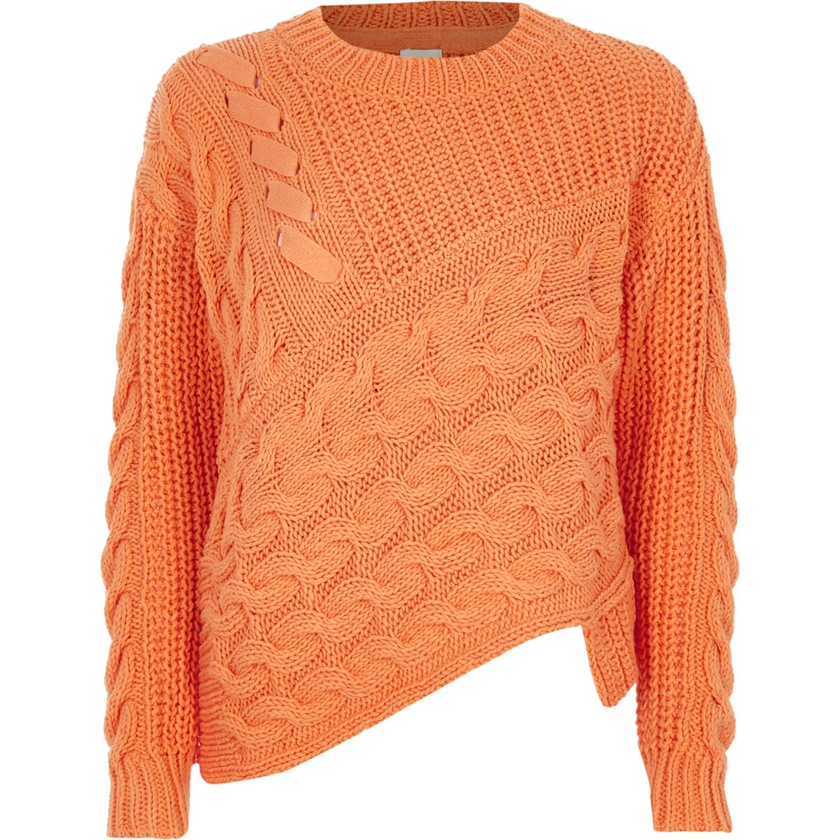 Orange cable knit asymmetric hem sweater