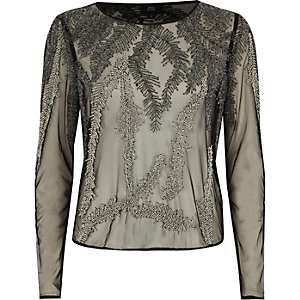 Black feather bead embellished mesh top