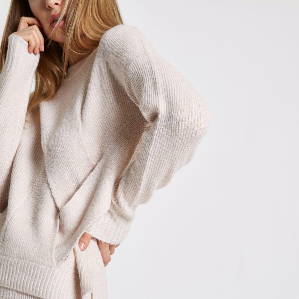 Light pink crossover wrap side knit sweater - Sweaters - Knitwear ...