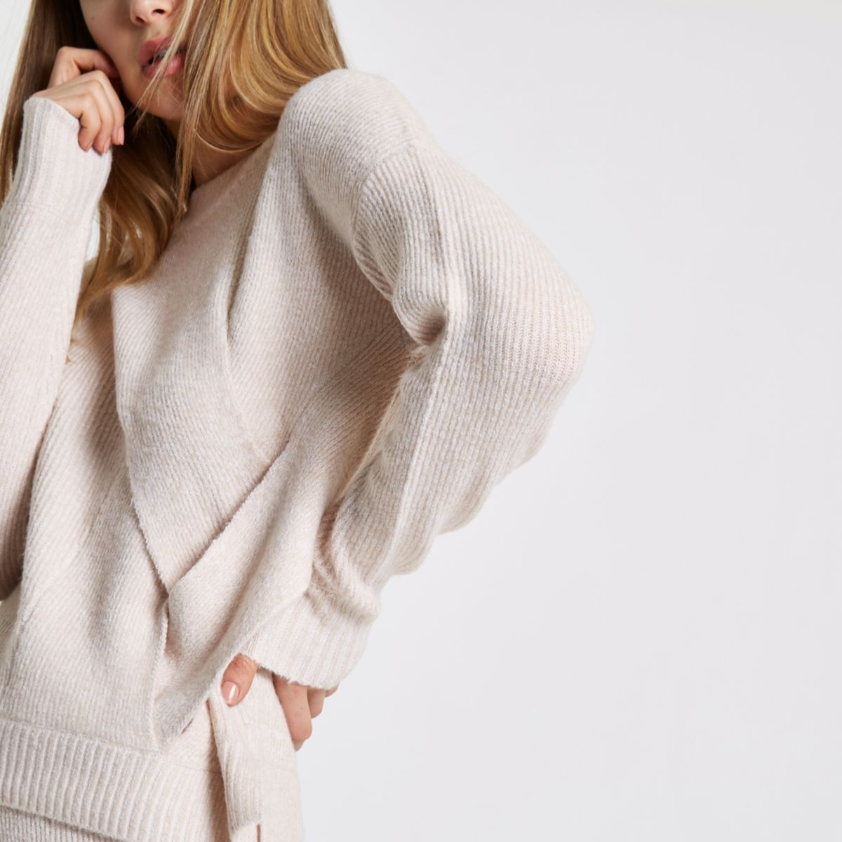 Light pink crossover wrap side knit sweater