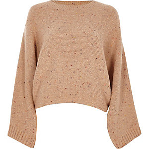 Beige flecked knit crew neck boxy sweater