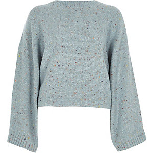 Blue flecked knit crew neck boxy sweater