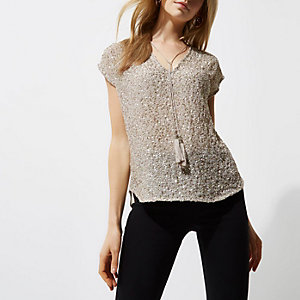 Cream sequin embellished tassel T-shirt