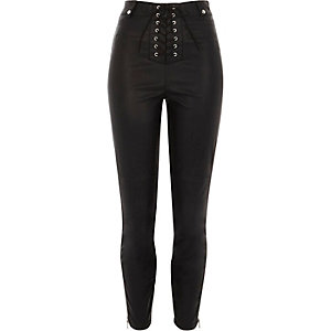 Black lace-up faux leather skinny trousers