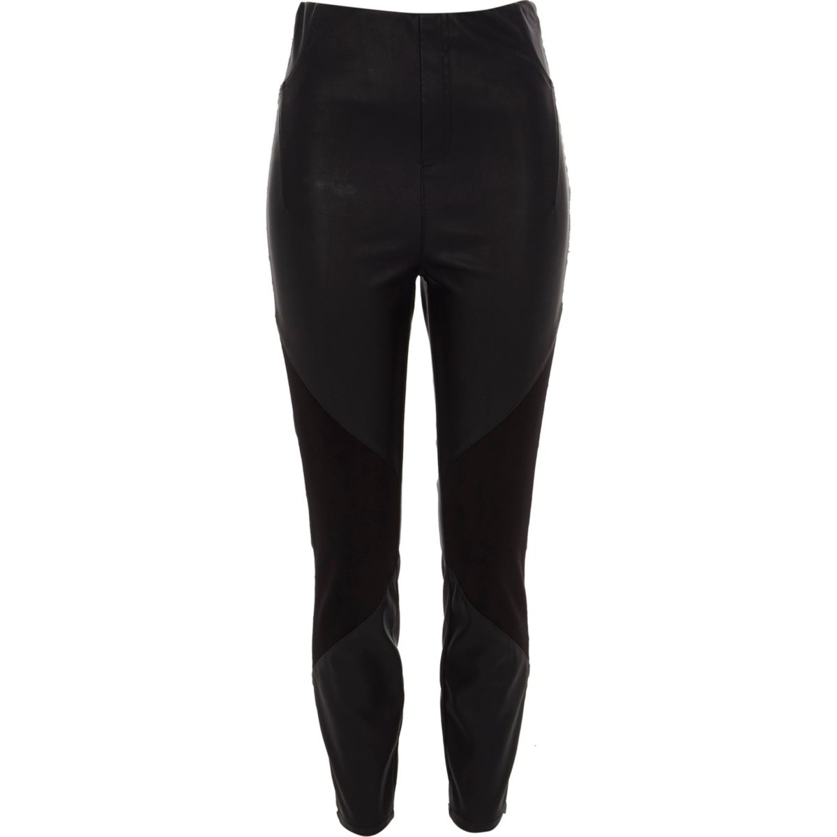 Black faux leather and ponte leggings