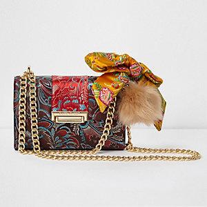 Red floral jacquard satin scarf crossbody bag