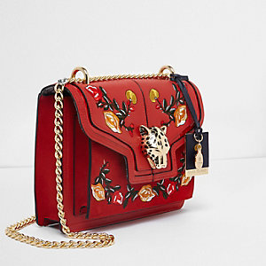 Red embroidered jaguar lock chain satchel bag