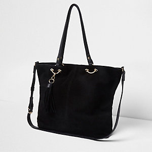 Black suede ring detail tote bag