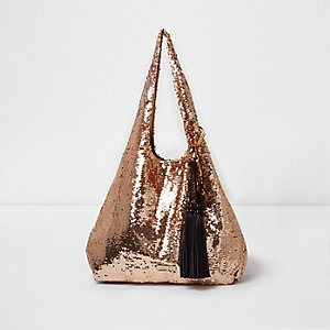 Rose gold sequin oversized slouch bag