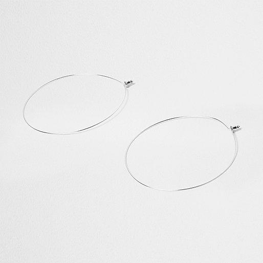 Silver tone ultra thin hoop earrings
