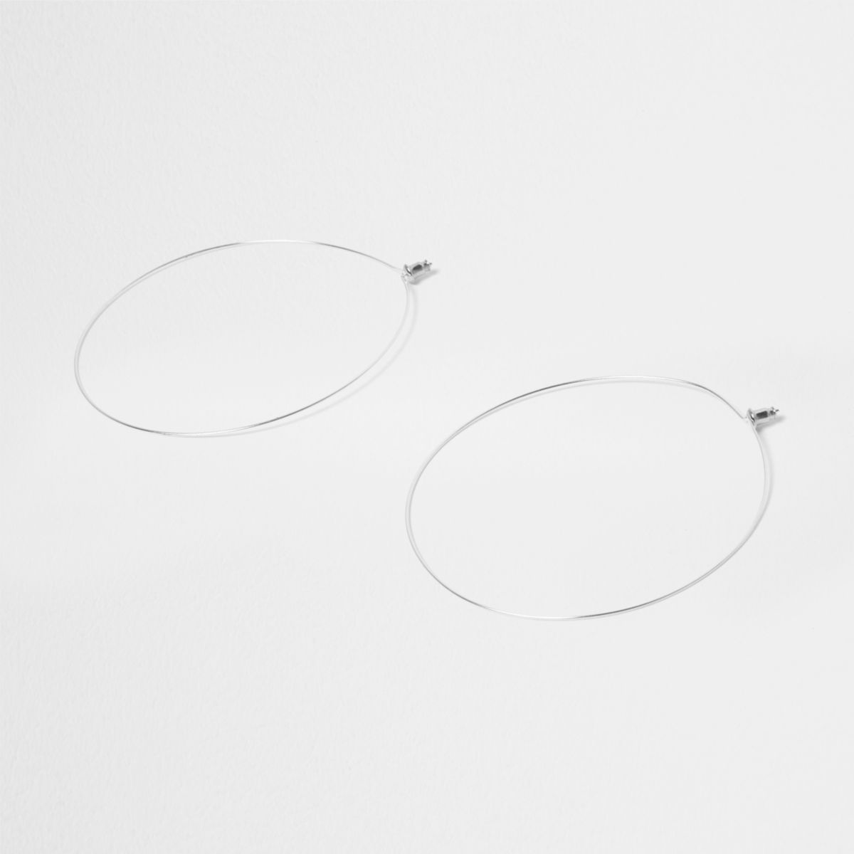 Silver tone ultra thin hoop earrings