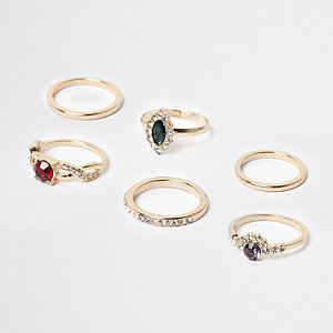 Gold tone jewel stone ring pack