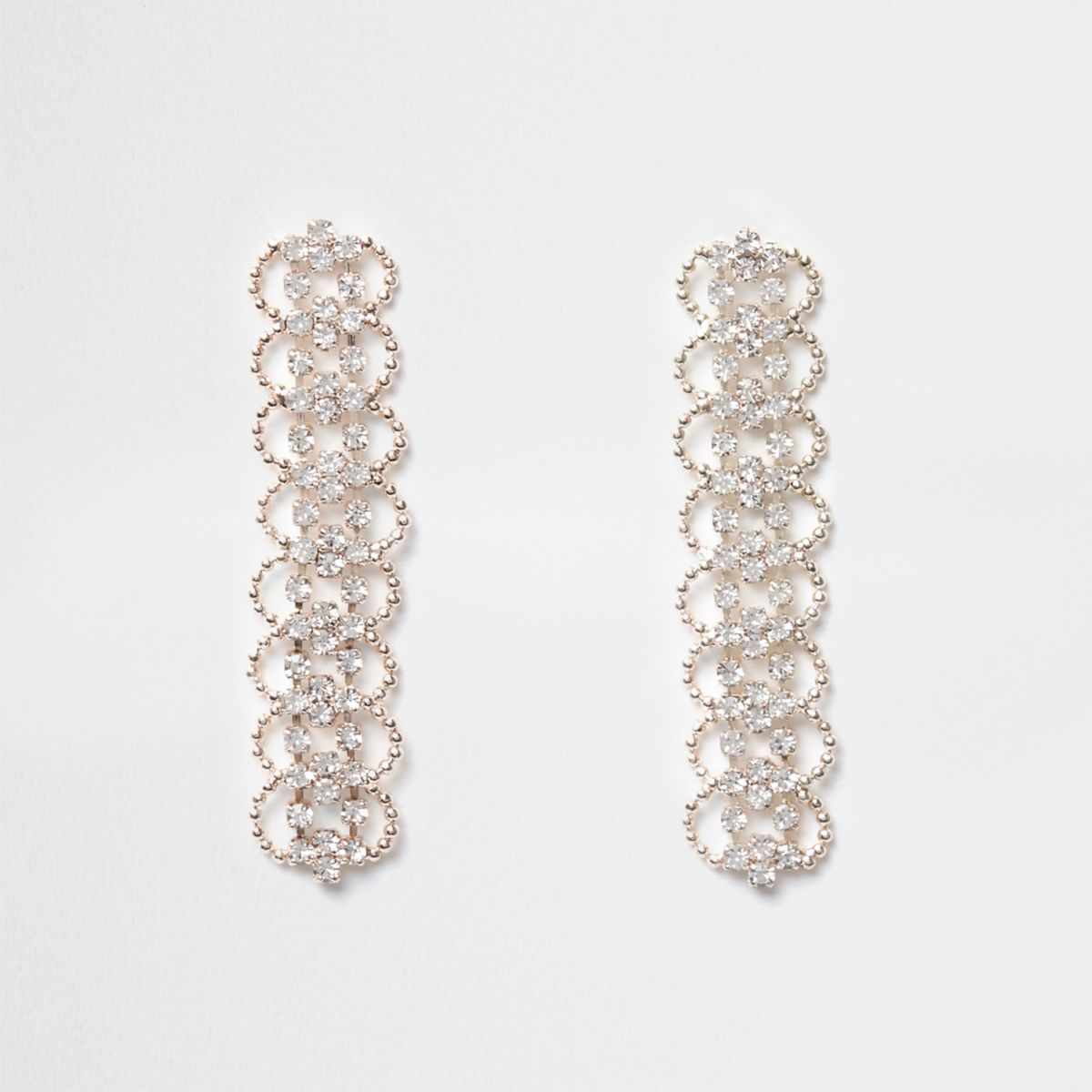 Rose gold tone diamante scallop drop earrings
