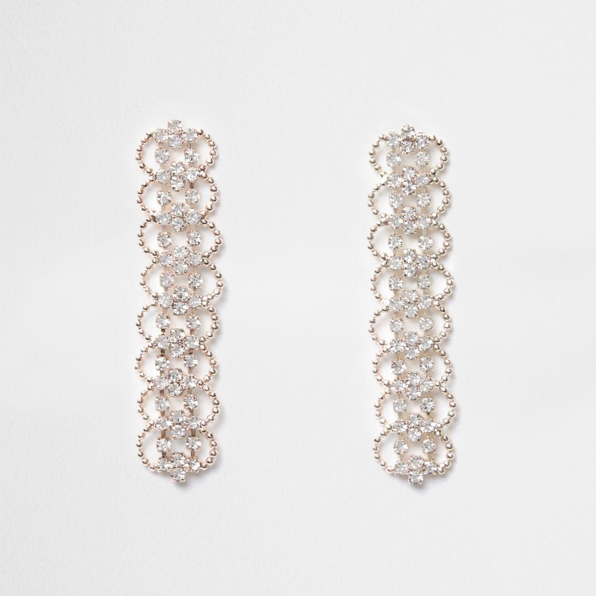 Rose gold tone rhinestone scallop drop earrings