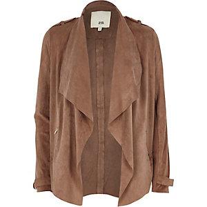 Pink faux suede fallaway jacket
