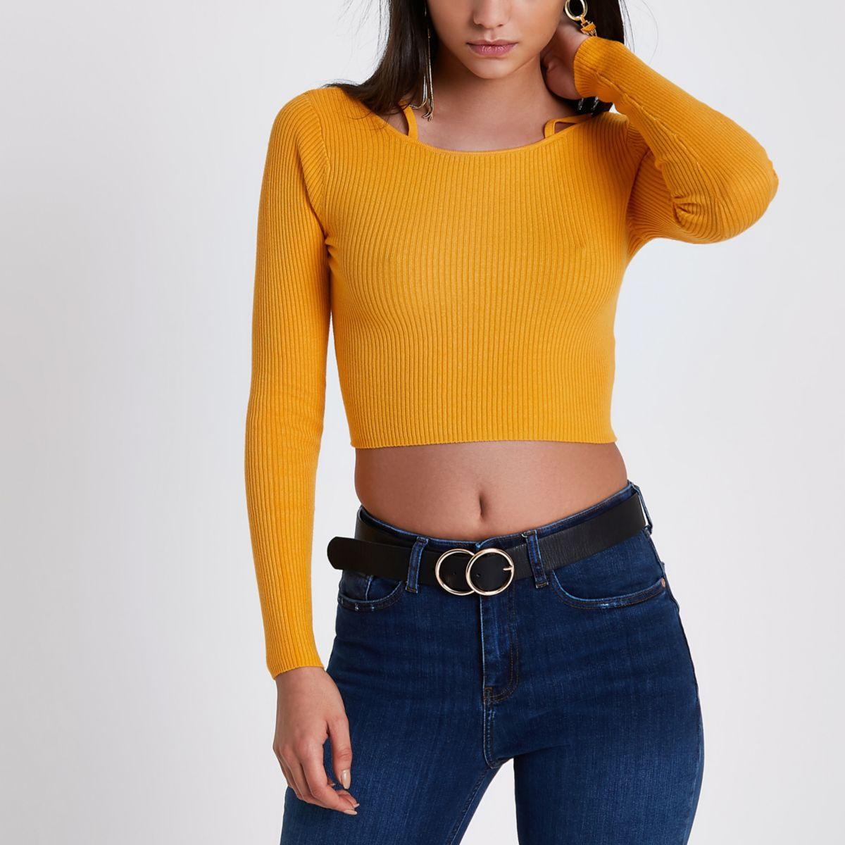 Orange rib knit strappy detail crop top