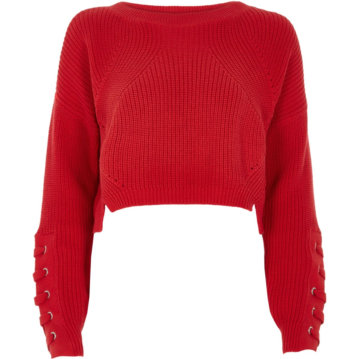 Red lace-up eyelet cropped sweater - Sweaters - Knitwear - women