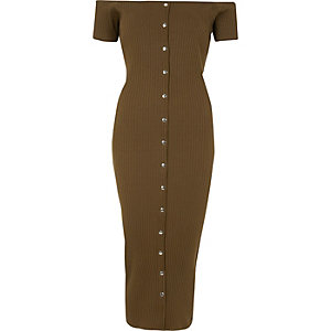 Khaki bardot button-up bodycon maxi dress