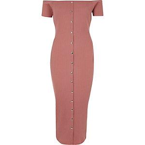 Roze bodycon maxi-jurk in bardotstijl met knopen