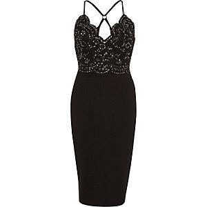 Zwarte nauwsluitende kanten midicami-jurk met lovertjes