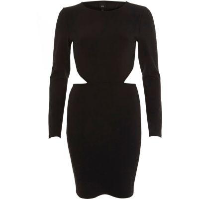 River Island Zwarte mini-jurk met blote rug en lange mouwen