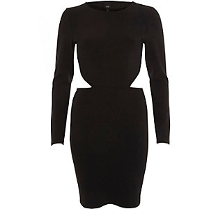 Black open back long sleeve mini dress