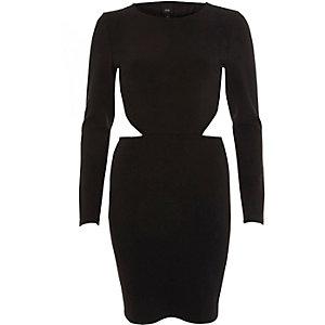 Black open back long sleeve mini dress