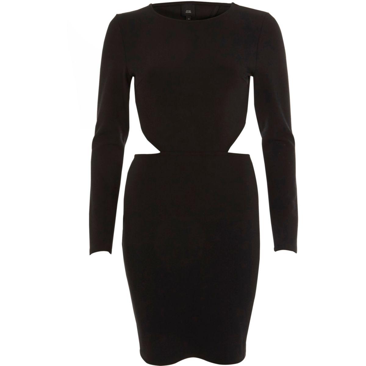 Zwarte mini-jurk met blote rug en lange mouwen